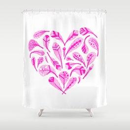 Feather Heart (Magenta) Shower Curtain