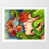 Koi Fish Kisses Art Print