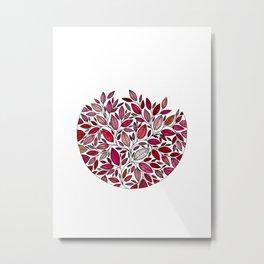Red Leaf - Floral Illustration *P07 003 Metal Print