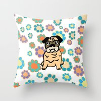 hippy Throw Pillows featuring Hippy Pug  by lindseyclare