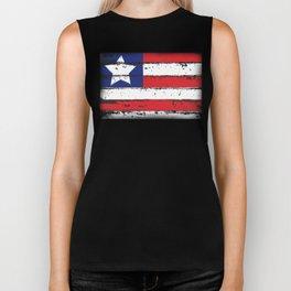Wood Grain American Flag 4th of July with Fade Print Biker Tank