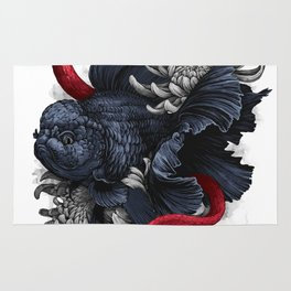 Gold fish with snakes Graphic Art Print. Digital watercolor style illustration Rug