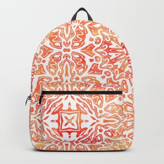 Oriental Watercolor ornament pattern yellow orange Backpack
