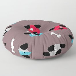 One Eyed Dog Head On Grey Background Floor Pillow