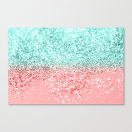 Summer Vibes Glitter #1 #coral #mint #shiny #decor #art #society6 Canvas Print