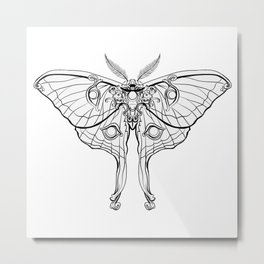 Art Nouveau Moth (white background) Metal Print