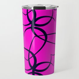 Vintage background of openwork hearts. Pattern of silhouettes of black hearts on a purple background Travel Mug