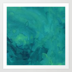 Watercolor green and blue Art Print