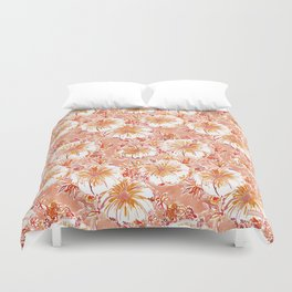 KOMBUCHA-CHA Orange Tropical Hibiscus Floral Duvet Cover