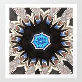 Icelandic Blue Abstract Mandala Art Print