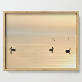 WHITE PELICANS - SUNSET - SALTON SEA Serving Tray