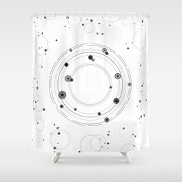Abstract geometric circles universe and solar system art Shower Curtain