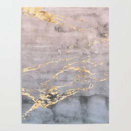 Watercolor Gradient Gold Foil IV Poster