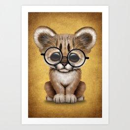 Cute Cougar Cub Wearing Reading Glasses on Yellow Art Print
