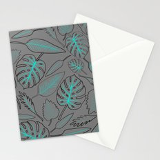 Monstera cyan leaves Stationery Cards