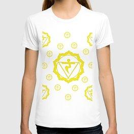 "YELLOW SANSKRIT CHAKRAS  PSYCHIC WHEEL ""STRIVE"" T-shirt"