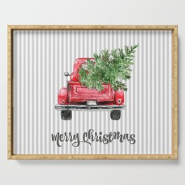 Red Truck With Christmas Tree Serving Tray