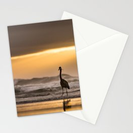 A Great Blue Heron Ocean Sunset at Cape Perpetua, Oregon Stationery Cards