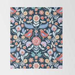 Happy Folk Summer Floral on Navy Throw Blanket
