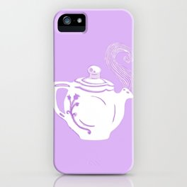 Lavender and White Teapot Printmaking Art iPhone Case