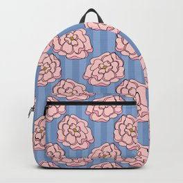 Pink Doodle Florals on a Purple Background Backpack