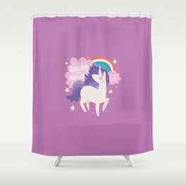 Unicorns Are Awesome With Clouds and Rainbow Shower Curtain