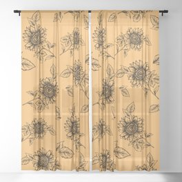 Vintage Sunflower Pattern  Sheer Curtain