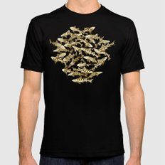 shark party gold Black Mens Fitted Tee MEDIUM