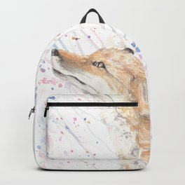 "Watercolor Painting of Picture ""Fox in the Rain"" Backpack"