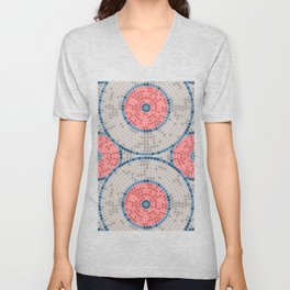 Rustic Farmhouse Mosaic Tile Geometric Pattern Faded  Red Navy Blue Gray Unisex V-Neck