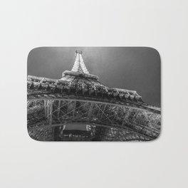 Eiffel Tower 2 (Black and White) Bath Mat
