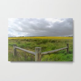 Canola Fenced In Metal Print