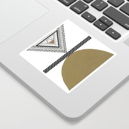 Geometric Shapes with Gold, Copper and Silver Sticker
