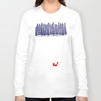 drawing Long Sleeve T-shirts featuring Alone in the forest by Robert Farkas