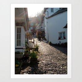 UP ALONG CLOVELLY VILLAGE NORTH DEVON ENGLAND Art Print