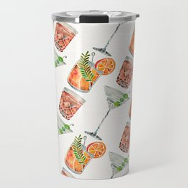Classic Cocktails  – 1960s Watercolor Lineup Travel Mug