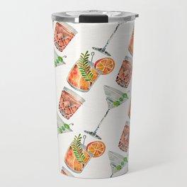 Classic Cocktails  – 1960s Watercolor Lineup Travel Mug