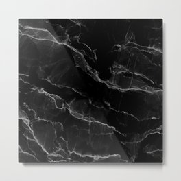 Smoke Black Marble Metal Print