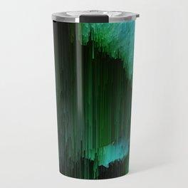 Aurora Borealis - Abstract Glitchy Pixel Art Travel Mug