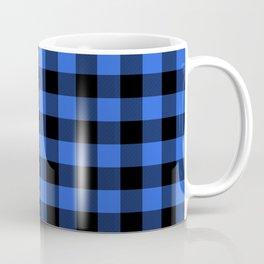 Royal Blue and Black Lumberjack Buffalo Plaid Fabric Coffee Mug