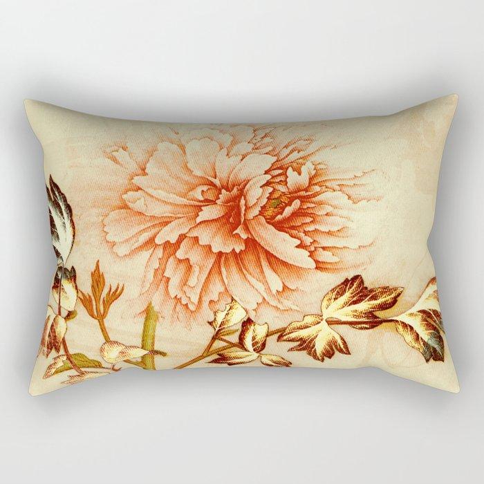 peach and golden floral Rectangular Pillow