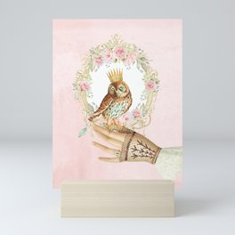 Owl on the hand Mini Art Print