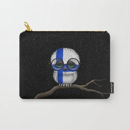 Baby Owl with Glasses and Finnish Flag Carry-All Pouch