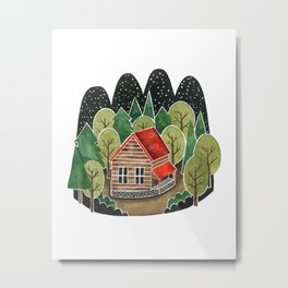 Forest Cabin Metal Print