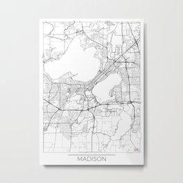 Madison Map White Metal Print