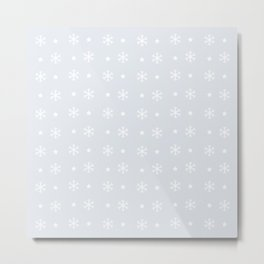 Light Grey background with white snowflakes and stars pattern Metal Print