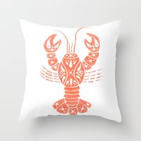 lobster Throw Pillows featuring Lobster by NoelleGobbi
