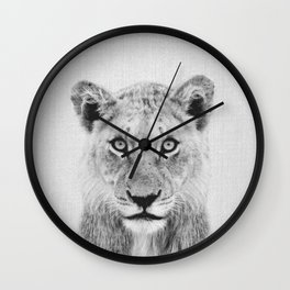 Lioness II - Black & White Wall Clock