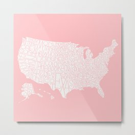 Hand Lettered States of America - soft coral Metal Print