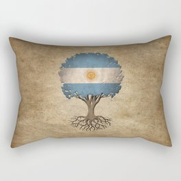 Vintage Tree of Life with Flag of Argentina Rectangular Pillow
